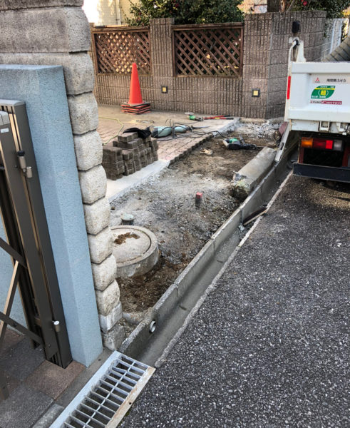 川越市の段差改修工事の施工中1