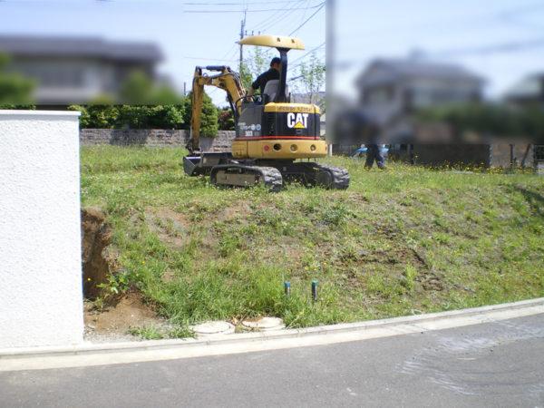川越市の新築エクステリア擁壁工事1