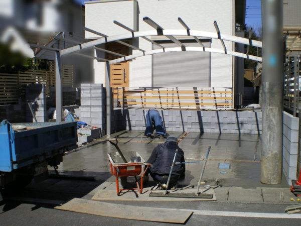 川越市新築エクステリア【駐車場コンクリート・カーポート】2