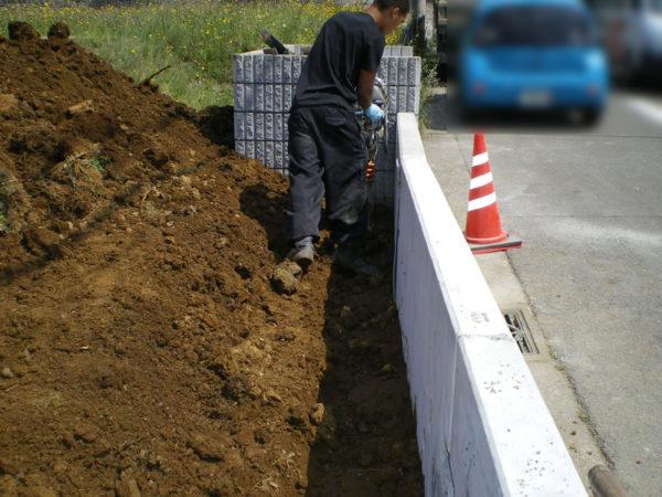 川越市の新築エクステリア擁壁工事5