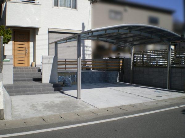 川越市新築エクステリア【駐車場コンクリート・カーポート】5