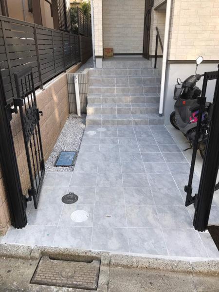 川越市小仙波 庭の階段工事3