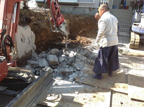 所沢市ブロック塀の補修と土間コンクリート工事1