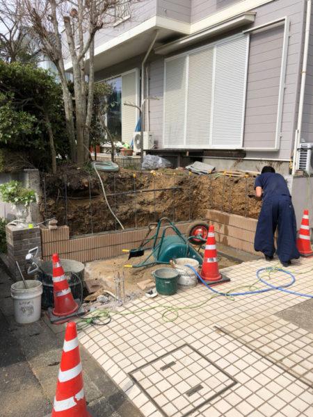 所沢市ブロック塀の補修と土間コンクリート工事3