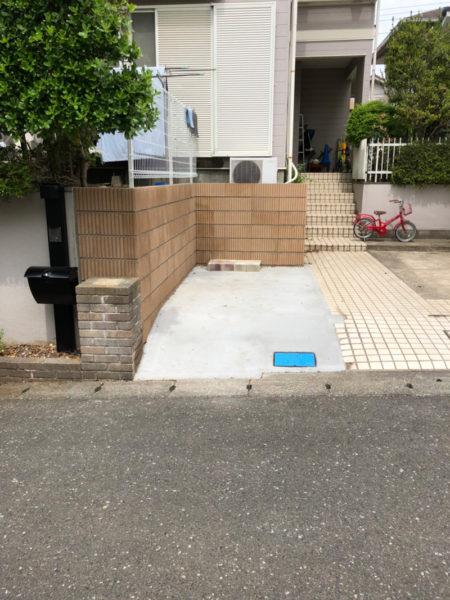 所沢市ブロック塀の補修と土間コンクリート工事5