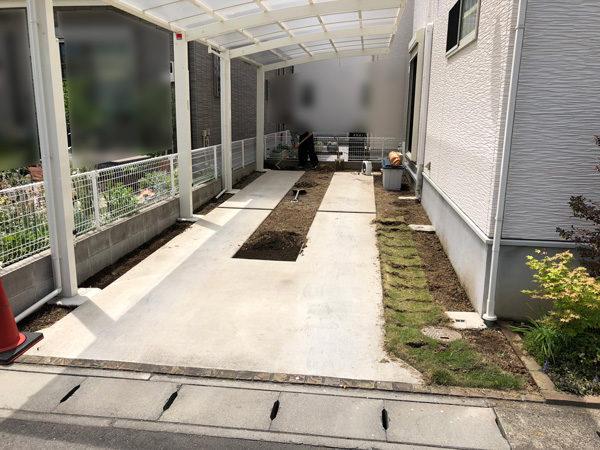 川越市の砂利敷き1-1施工前
