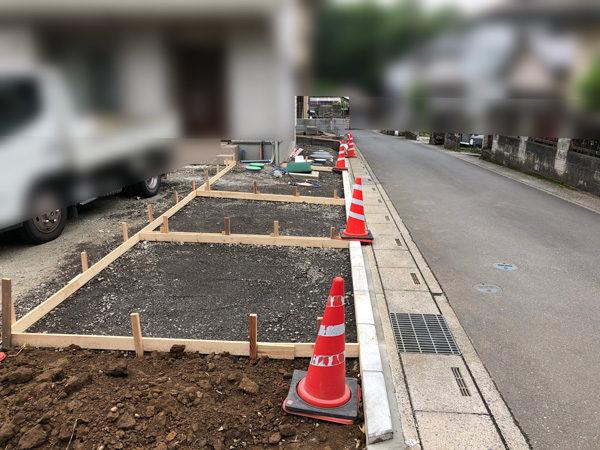 川越市の土間コンクリート工事NO.20の施工中横1-10