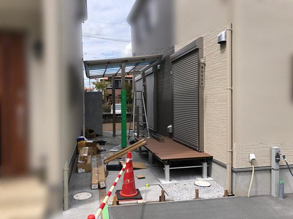 所沢市サイクルポートの設置工事施工中1