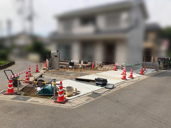 川越市の土間コンクリート工事NO.20の施工中施工中正面3-11