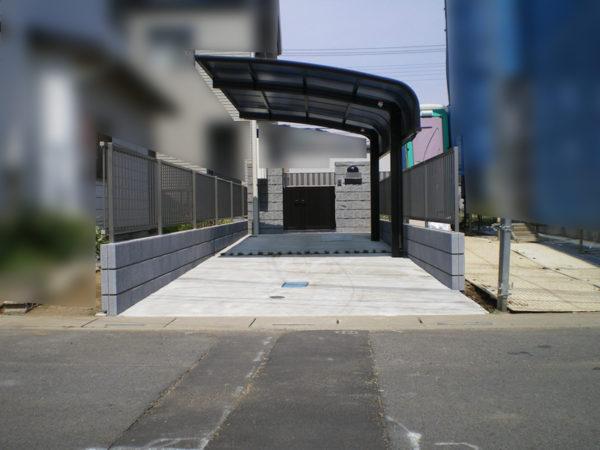 駐車場コンクリートとカーポート施工後6
