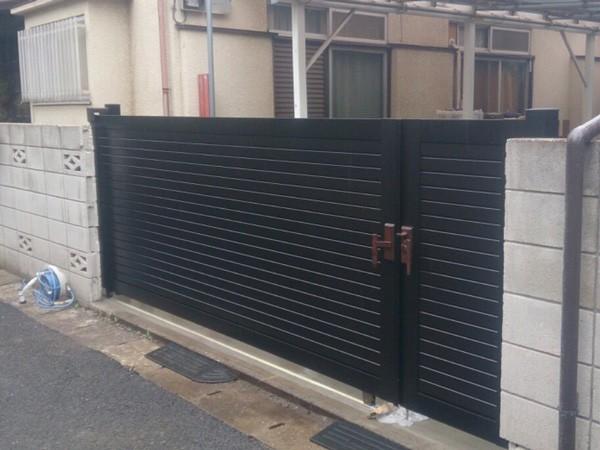 川越市 スライド式門扉の工事